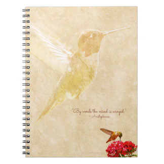Hummingbird with quote - Spiral Notebook