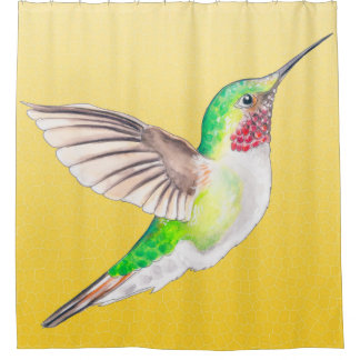 Hummingbird Yellow Shower Curtain