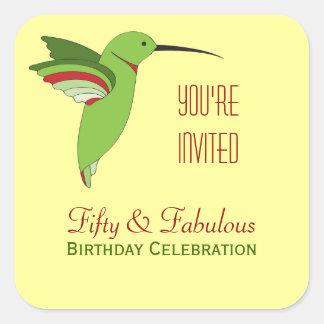 Hummingbirds 50th Birthday Postage Square Sticker