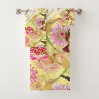 Hummingbirds and Astrantia Monogram Watercolor Bath Towel Set