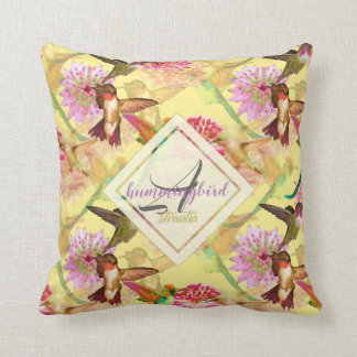 Hummingbirds and Astrantia Monogram Watercolor Cushion