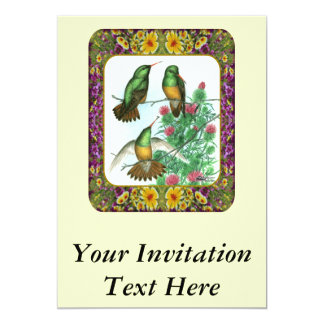 Hummingbirds and Flowers #1 13 Cm X 18 Cm Invitation Card