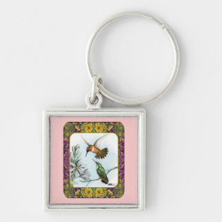 Hummingbirds and Flowers 2 Keychain