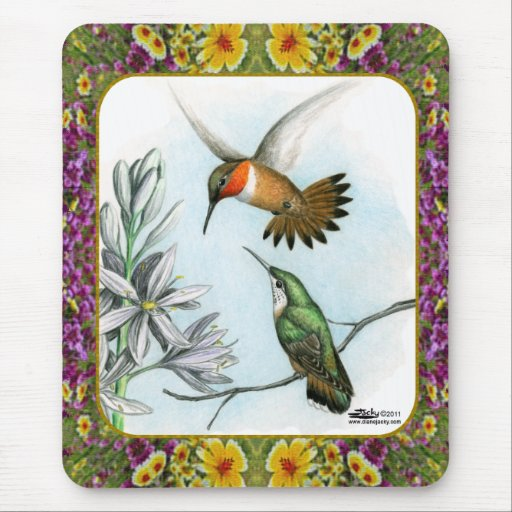 Hummingbirds and Flowers #2 Mouse Pads