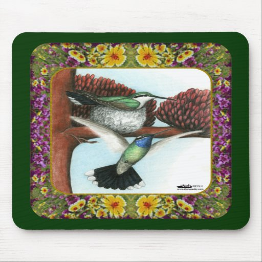 Hummingbirds and Flowers #3 Mousepad