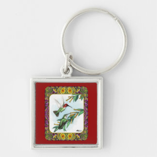 Hummingbirds and Flowers #4 Key Ring