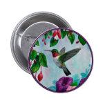 Hummingbirds and Flowers 6 Cm Round Badge