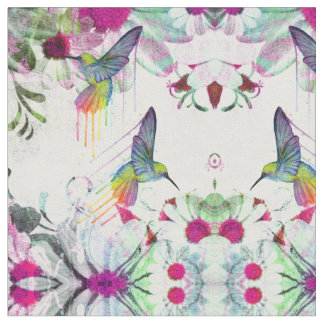 Hummingbirds and Flowers Fabric