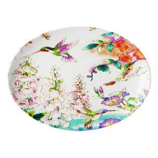 Hummingbirds and Flowers Landscape Porcelain Serving Platter
