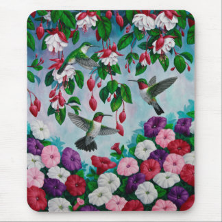 Hummingbirds and Flowers Mousepad