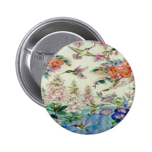 Hummingbirds and flowers stained glass WOW 6 Cm Round Badge