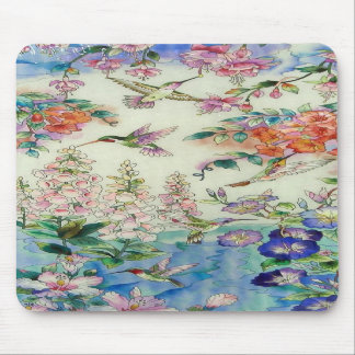 Hummingbirds and flowers stained glass WOW Mouse Pads
