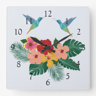 Hummingbirds and Flowers Wall Clock