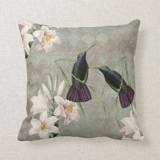 Hummingbirds and Lilies Throw Pillow