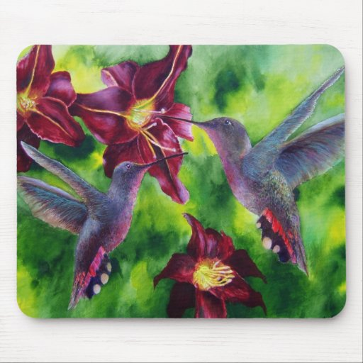 Hummingbirds and Lillies Mouse Pad