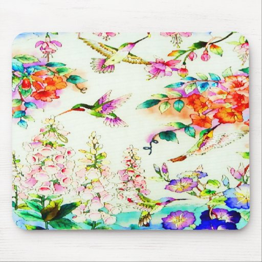 Hummingbirds and Pink Flowers Landscape Mousepads