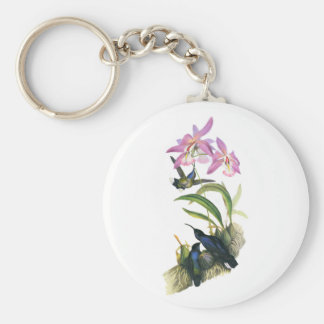 Hummingbirds and Pink Orchids Key Ring