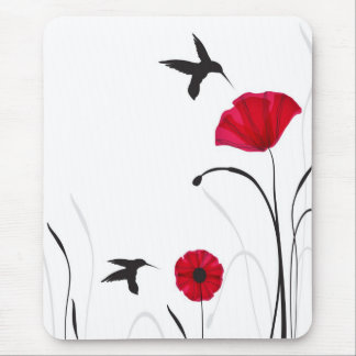 Hummingbirds and poppies flowers mouse mat