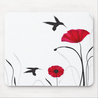 Hummingbirds and poppies flowers mouse pad