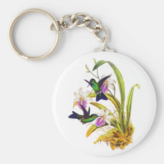 Hummingbirds and Purple Orchids Basic Round Button Key Ring