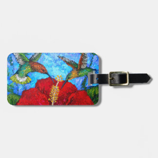 Hummingbirds Art Luggage Tag With Leather Strap