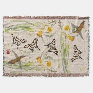 Hummingbirds Butterflies Flowers Throw Blanket