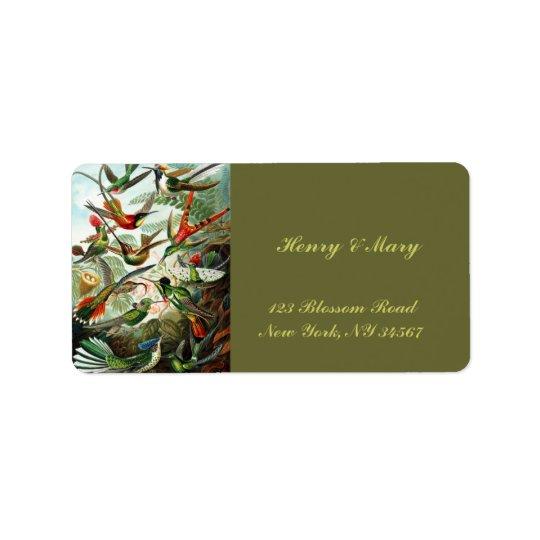Hummingbirds by Ernst Haeckel Address Label