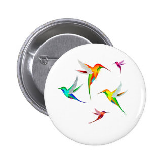 Hummingbirds Flock Cute - Colorful Bird Watching 6 Cm Round Badge