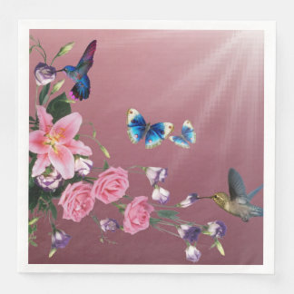Hummingbirds Flowers Butterflies Paper Napkins