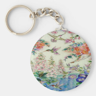 Hummingbirds Flowers Stained Glass Wow Keychain