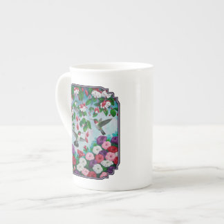 Hummingbirds in Fuchsia Flower Garden Tea Cup
