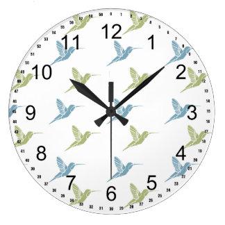 Hummingbirds Large Clock