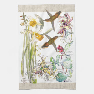 Hummingbirds Narcissus Flowers Kitchen Towels