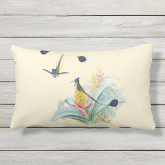 Hummingbirds on Bromeliads Outdoor Lumbar Pillow