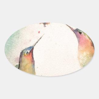 hummingbirds oval sticker