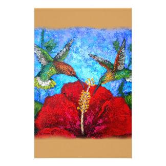 Hummingbirds Painting Design On Stationery