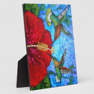 Hummingbirds Painting On Display Plaque With Easel