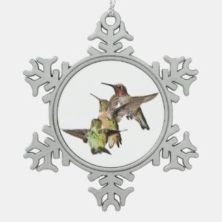 Hummingbirds Snowflake Pewter Christmas Ornament