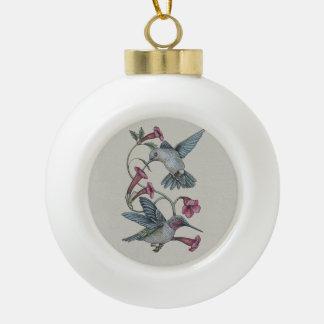 Hummingbirds & Vine Ceramic Ball Christmas Ornament
