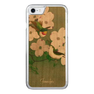Hummingbirds Vintage Art Wooden iPhone 6 Carved iPhone 8/7 Case