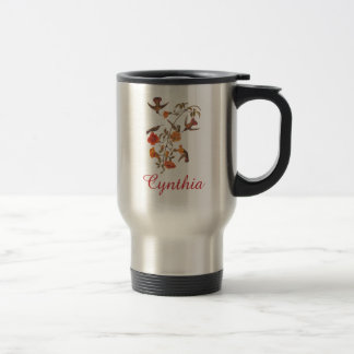 Hummingbirds with Flowering Vine Vintage Art Travel Mug