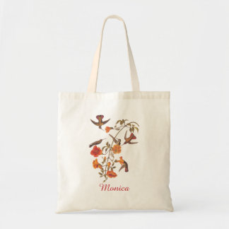 Hummingbirds with Orange Flowering Trumpet Vine Tote Bag