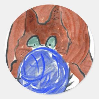 Humogus Yarn Ball & Tiger Kitten Round Sticker