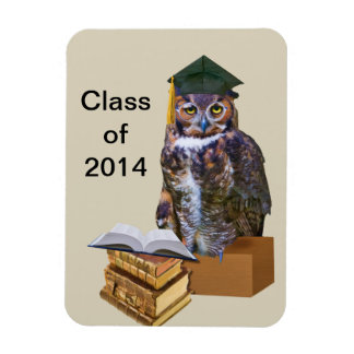 Humorous 2014 Graduation Owl Customizable Rectangular Photo Magnet