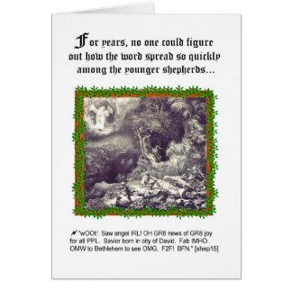 Humorous Angel-Shepherd Theme Christmas Card