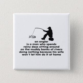 Humorous Angler's 15 Cm Square Badge