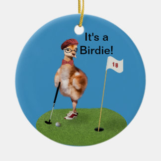 Humorous Bird Playing Golf, Customizable Text Round Ceramic Decoration