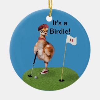 Humorous Bird Playing Golf, Customizable Text Round Ceramic Decoration
