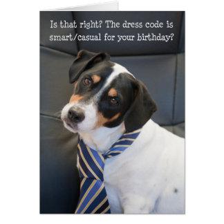 Humorous Birthday Card - Dog Checking Dress Code