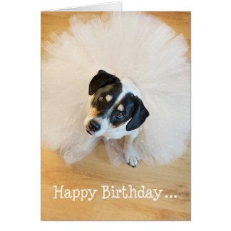 Humorous Birthday Card - Dog Wearing Tutu